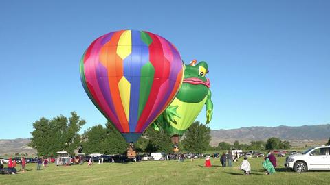 Frog Prince hot air balloon takeoff rural field 4K 043 Footage