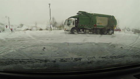 Garbage truck parked due to slick roads winter snow storm HD 0204 Footage