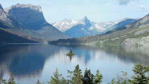 Glacier NP Goose Island Mountain lake P HD 0497 Footage