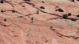 Hiking sandstone mountains Zion National Park Utah HD Footage