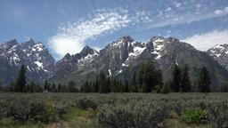 Grand Teton National Park mountain Wyoming pan 4K Footage