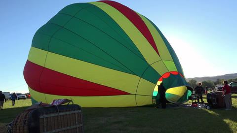 Hot Air Balloon filling with air on ground 4K 030 Live Action