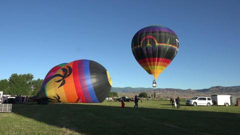 Hot Air Balloon takeoff rural festival 4K 035 Footage