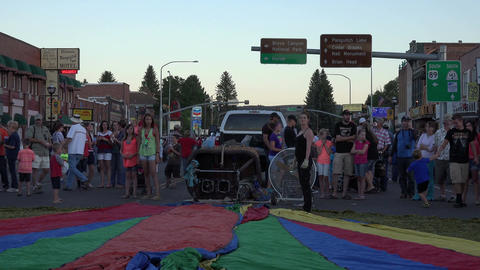 Hot air balloon rural community main street sunset 4K 175 Footage