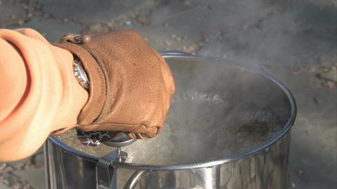 Hot oil thermometer turkey cook M HD Footage