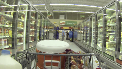 Housewife shopping grocery store frozen food POV HD 042 Footage