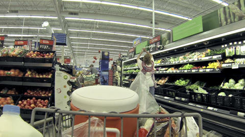 Housewife shops for fresh produce POV HD 062 Footage