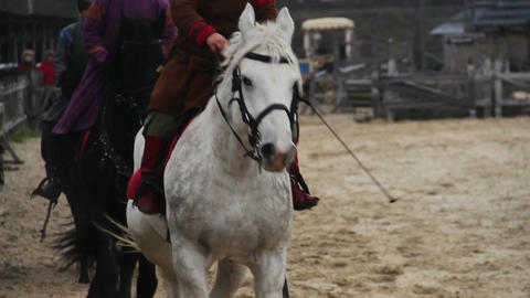 Medieval king's cavalry division riding horses, leaving for military campaign Live Action