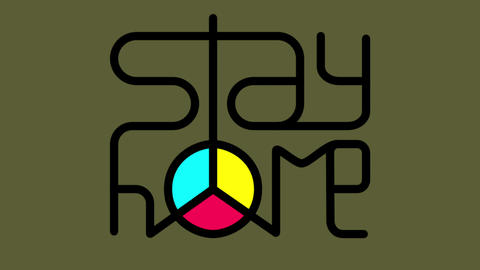 Stay home animation with peace symbol Animation