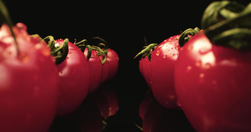 Tasty red cocktail tomatoes super macro close-up with dark background 4k shoot Glossy reflection red Live Action