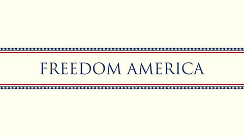 Animated closeup text Freedom America on holiday background, Independence Day of USA Animation