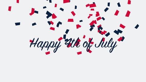 Animated closeup text July 4th on holiday background, Independence Day of USA Animation