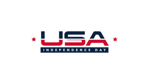 Animated closeup text Independence Day of USA on holiday background CG動画