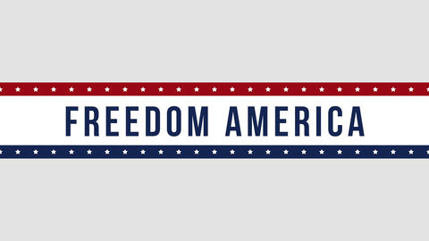 Animated closeup text Freedom America on holiday background, Independence Day of USA CG動画