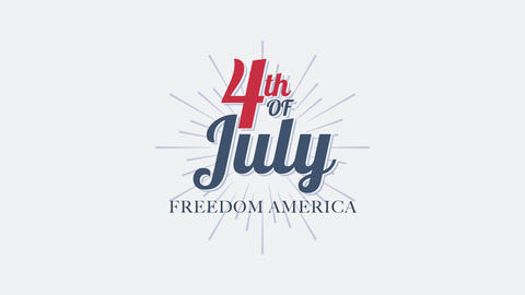 Animated closeup text July 4th on holiday background, Independence Day of USA CG動画