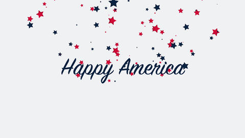 Animated closeup text Happy America on holiday background, Independence Day of USA Animation