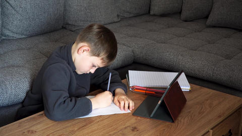 Child at Home distance education and learning. Distance learning online Live Action