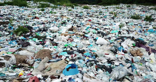 Mountain garbage, large garbage pile, degraded garbage. Pile of stink and toxic Live Action