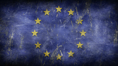 Coronavirus COVID-19 outbreak. Biohazard, danger, warning sign over the European Union flag Animation