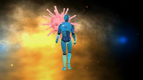 707 4k 3d animated AVATAR robot man battling with virus Animation