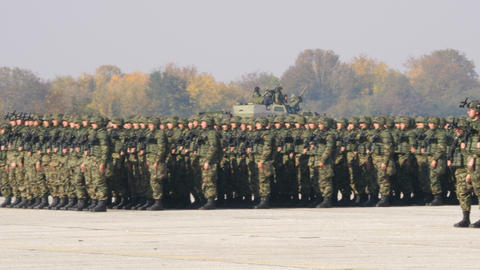 Special Forces Marching Soldiers in Parade with Military Equipment and Vehicles Live Action