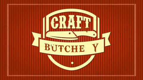 70s style emblem from craft butchery shop using contrasting soft and intense colors with a knife and Animation