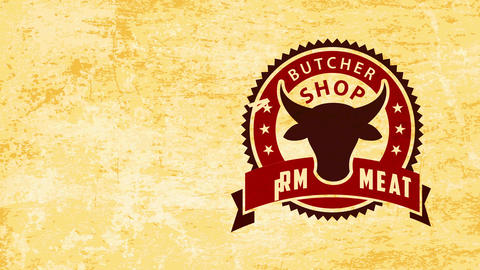 farm meat butcher store insignia with zig zagged boundary and cow head in over grease style paper Animation