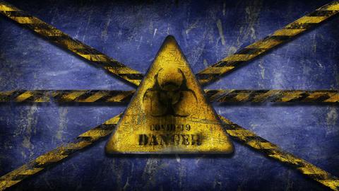 Coronavirus COVID-19 outbreak. Biohazard, danger, warning sign over the European Union flag GIF