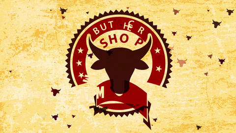 farm meat butcher shop emblem with zig zagged border and bovine head indoor over stain style Animation