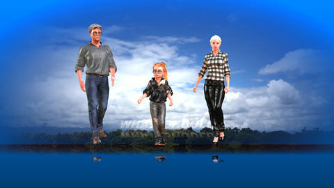 708 4k 3d animated footage exercising AVATAR family tryng to be healthy Animation