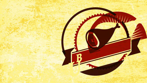 pig meat barbeque or butcher shop mark with classical circular icon on paper texture surface Animation