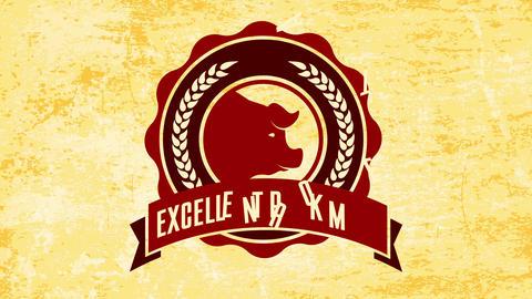 excellent pork meat ad for butcher shop circle emblem with wavy edge over vintage paper texture Animation