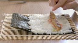 Preparing homemade vegan sushi Live Action
