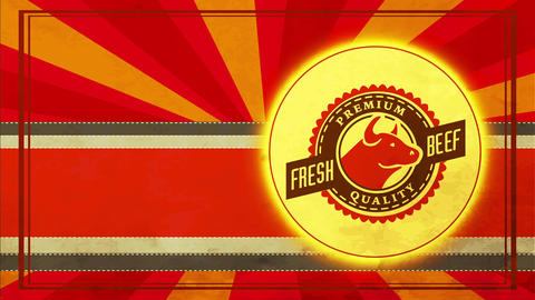 fancy quality fresh meat butcher store icon over aged fashioned scene and calf head stand out from Animation