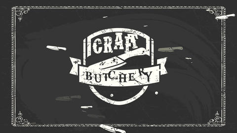heavy metallic fancy craft murder mark with white worn out badge with a butcher cutlery on black Animation