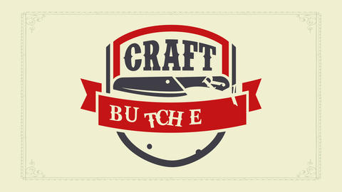 craft cow meat butchery restaurant identity brand using distinctive colors on fancy marble like Animation