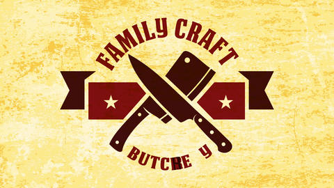 military style family craft butchery corporate identity with butcher knives crossed under western Animation