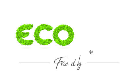 reforestation eco kind campaign advertisement with green nature creating letters towards raise Animation
