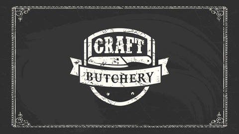 heavy metal style craft butchery brand with white worn out emblem with a butcher knife on black Animation