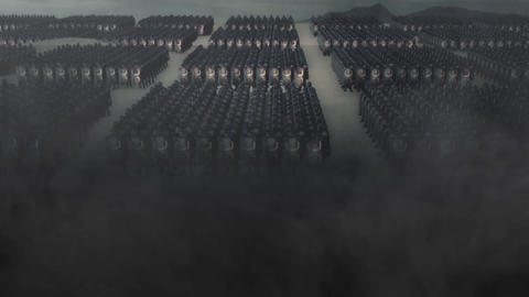 Roman Legion Standing in Battle Formation Before a War Live Action