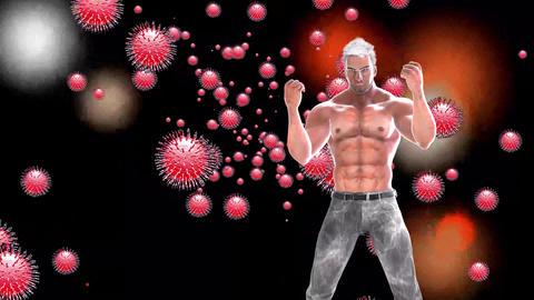 711 4k 3d animated Avatar strong man trying kill virus Animation