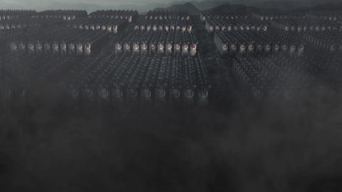 Roman Legion Standing in Formation in a Battlefield Live Action