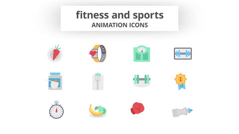 Fitness & Sports - Animation Icons Motion Graphics Template