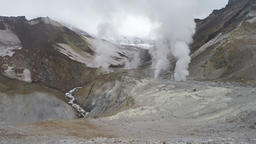 Crater of active Mutnovsky Volcano: fumarole, thermal field, hot spring Footage