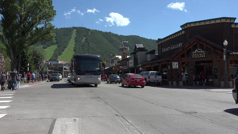 Jackson Wyoming main street traffic stores 4K Footage