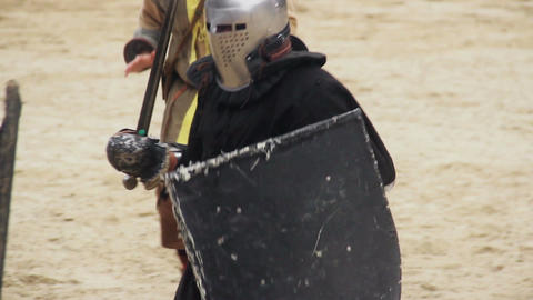 Fierce armed conflict between two mighty knights,... Stock Video Footage