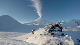 View on eruption Klyuchevskoy Volcano - active Kamchatka volcano Footage
