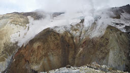 Crater of active volcano: thermal field, fumarole, hot spring Footage
