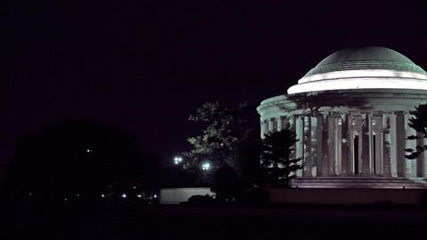 Jefferson Monument night Washington Monument pan 4K 012 Footage