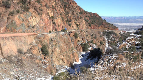Jerome Arizona Canyon road traffic into valley 4K Footage